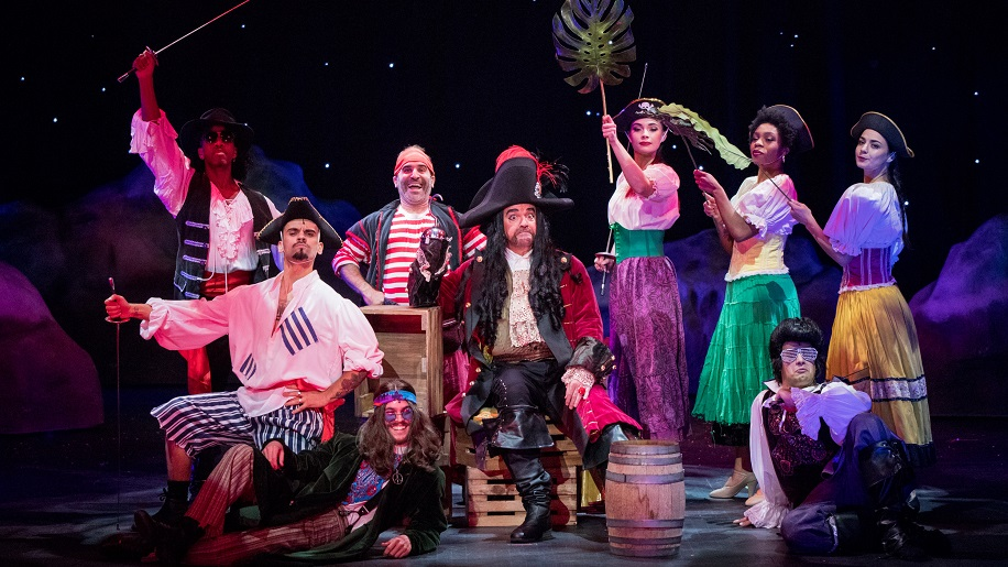 Mason Trueblood, Ivan Marić, Malcom Buchanan, Ben Giroux, John O'Hurley, Peyton White, Ariana Crowder, Bridget Whitman and Dan Castiglione in 'Peter Pan and Tinker Bell: A Pirate's Christmas'
