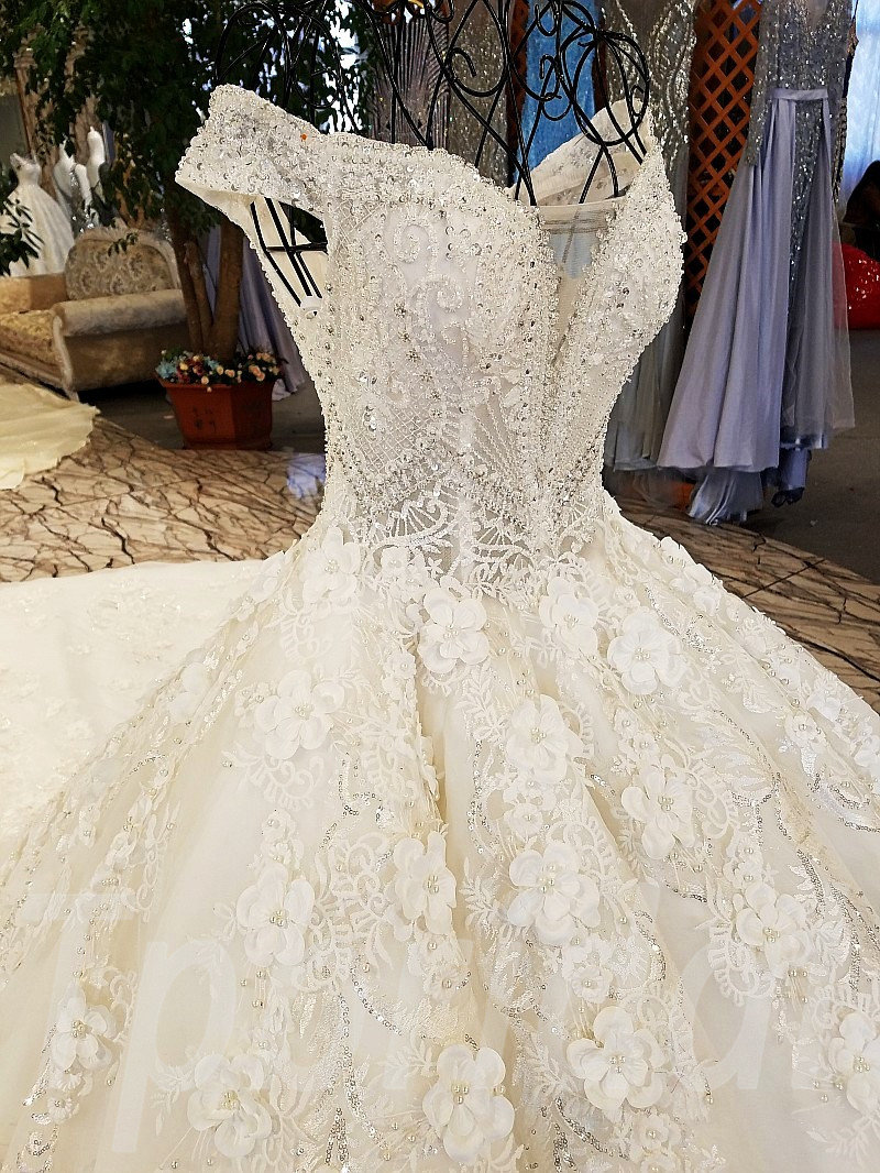 Crystal Wedding Dress Princess Ivory Ball Gown For Sale • tpbridal