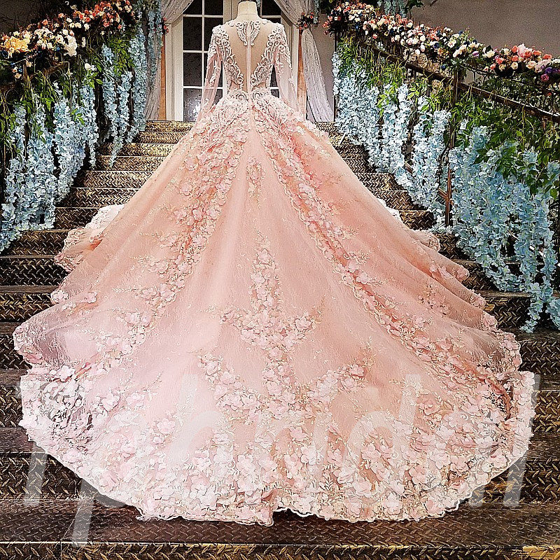 Pink Wedding Dress Plus Size Long Sleeve Ball Gown Bridal Dress