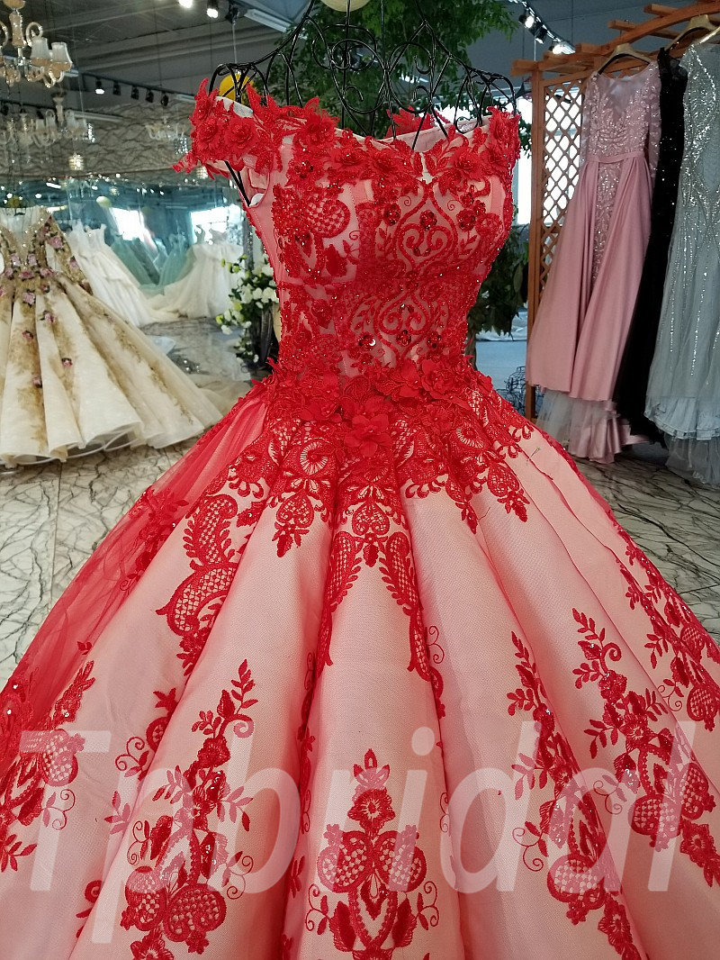 Wedding Dresses Red Ball Gown Lace Formal Prom Dress
