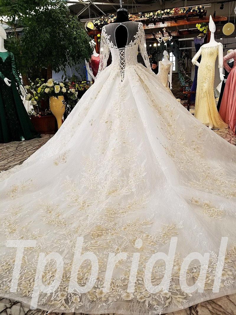 Ball Gown Wedding Dress Long Train Bridal Dress 2018