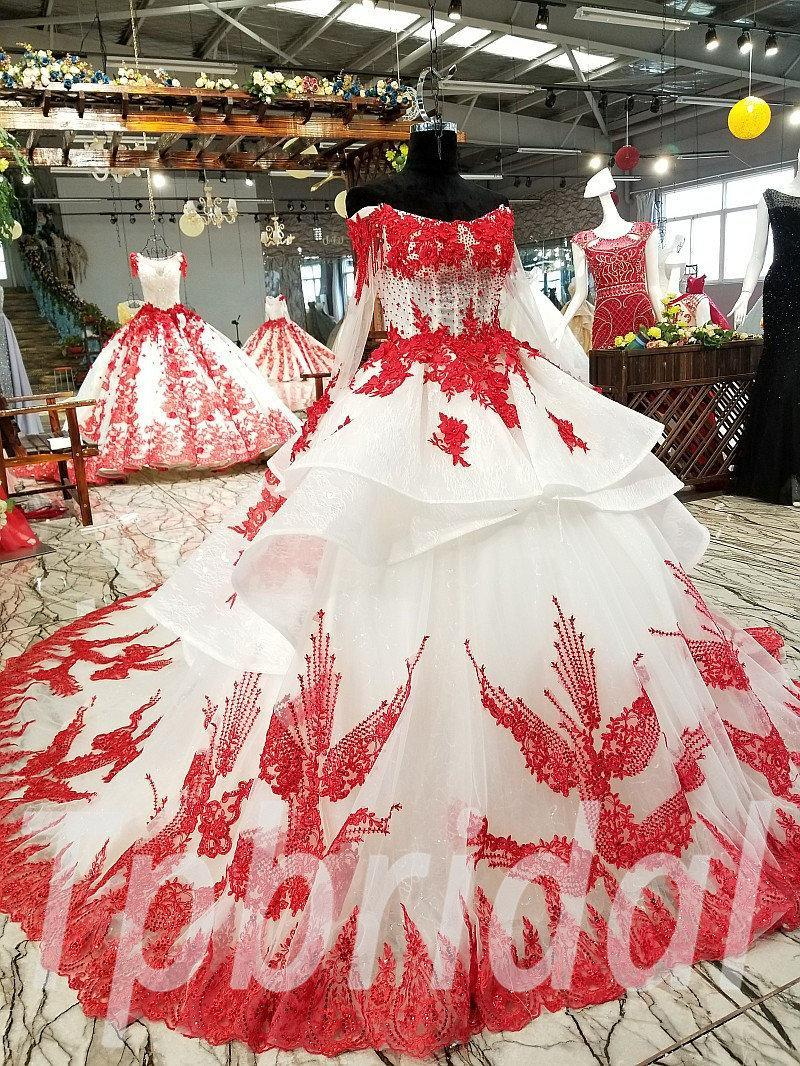 Red And White Wedding Dress Long Sleeve Off Shoulder