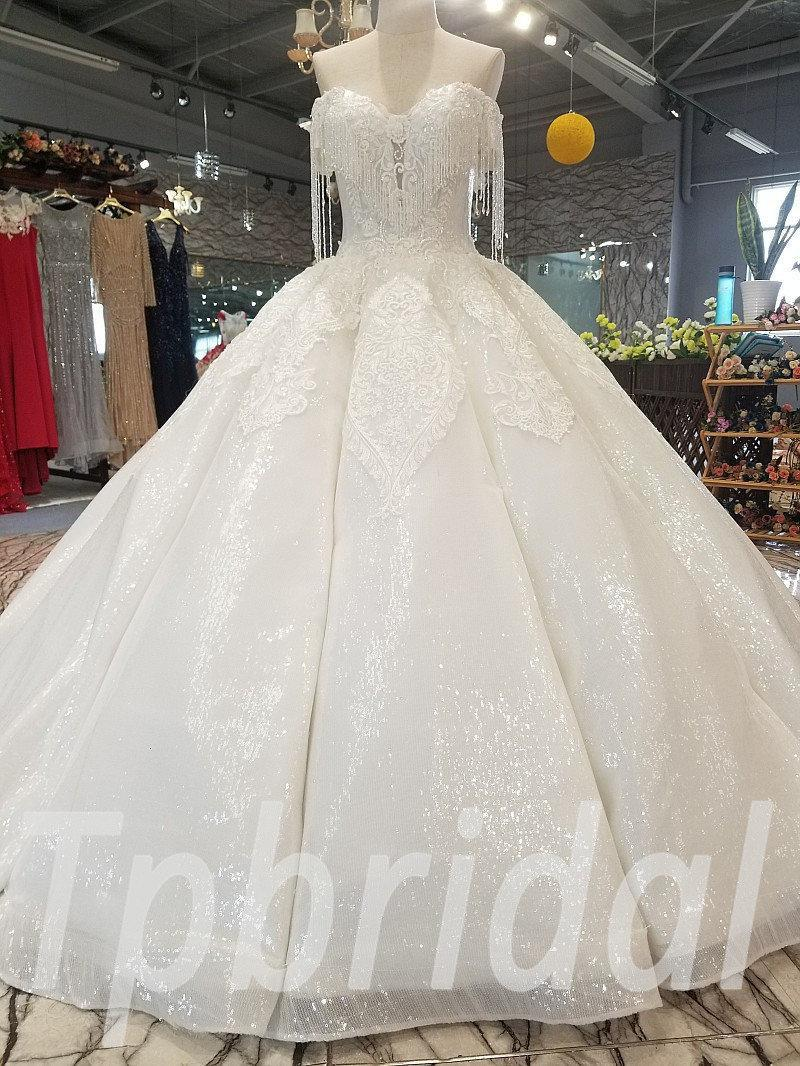Crystal Wedding Dress Luxury Lace Ball Gown Bridal Dress