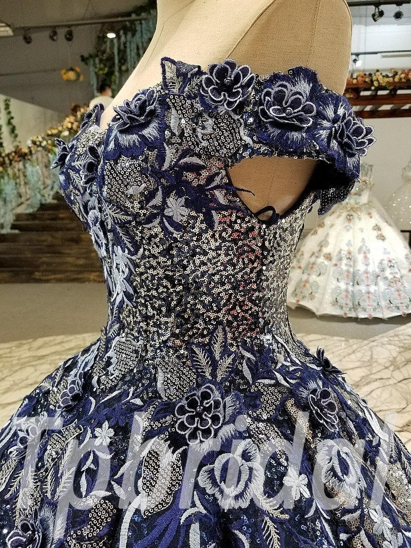 Dark Blue Prom Dress Ball Gown Off The Shoulder Party Dress