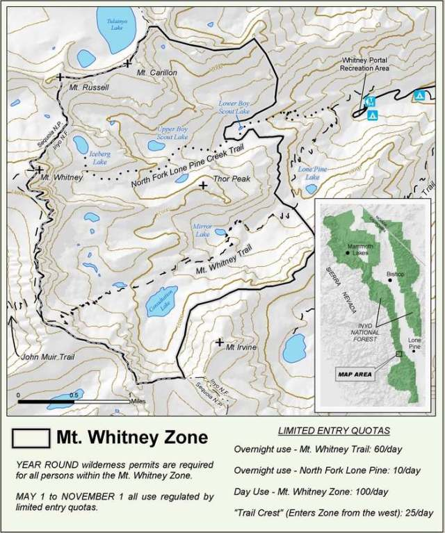 Map of the Whitney Zone