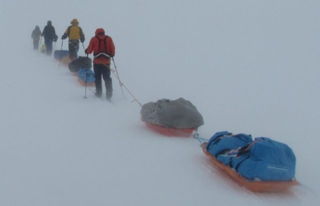 Man-haulers with double sledges
