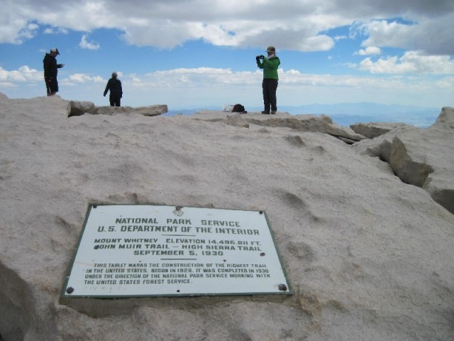 Mt Whitney summit plaque