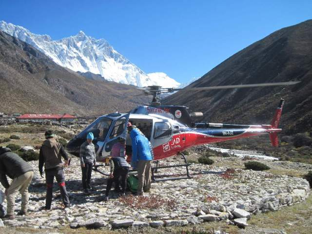 Loading helicopter at Dingboche
