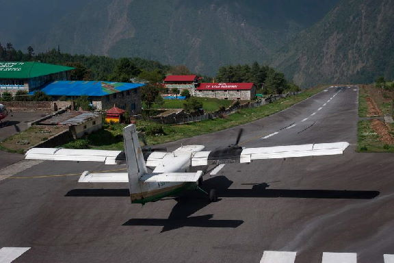 Lukla Airport downhill takeoff
