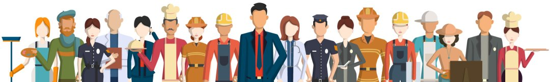 A picture showing an array of different professions in temporary staffing.
