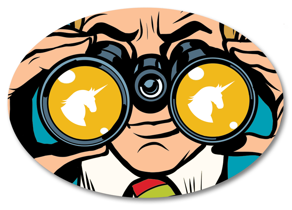 A cartoon-like image of a man looking through binoculars.