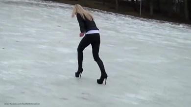 Photo of HIT VIDEO: Seksi plavuša u štiklama na ledu! (VIDEO)