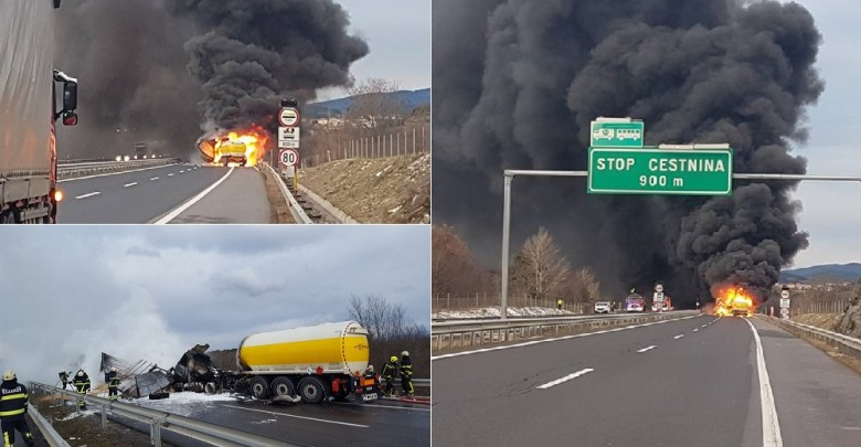 Photo of STRAVIČNA NESREĆA U SLOVENIJI: U sudaru četiri kamiona na auto-putu Ljubljana-Trst, izgoreo vozač cisterne koja se zapalila! (FOTO/VIDEO)