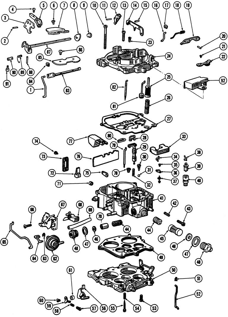 1966 69 quadrajet 4 barrel carburetor illustrated parts break down rh tpocr rochester carburetor parts diagram rochester quadrajet exploded view