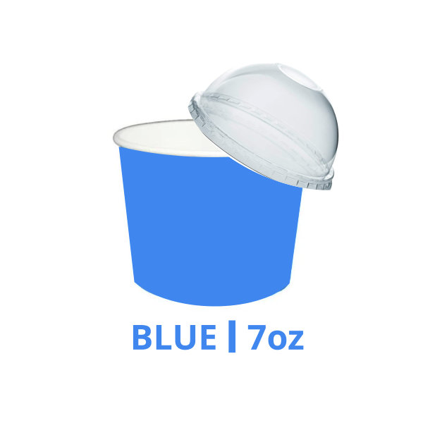 7oz Blue Ice Cream Cups With & Without Lids – 200 Pieces