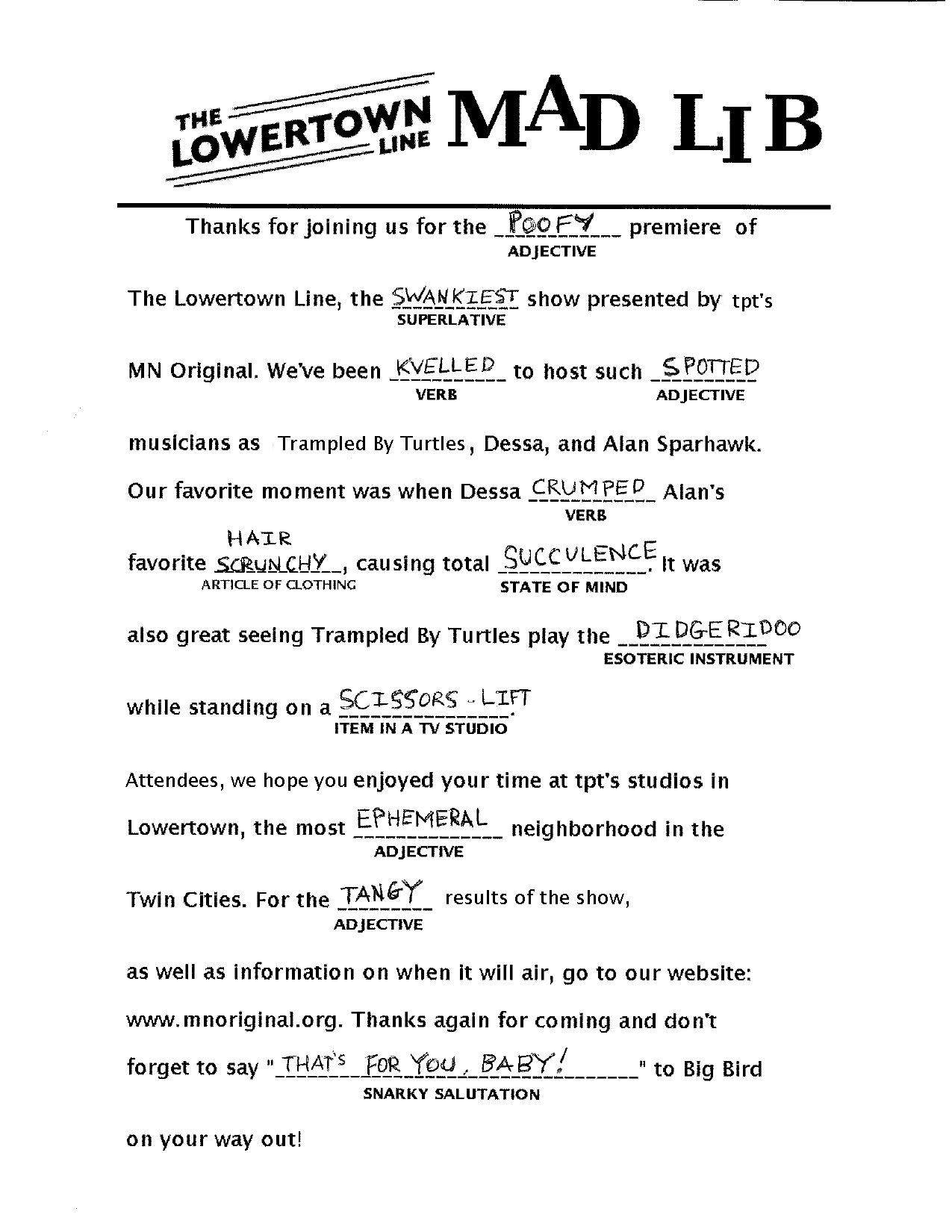 The Lowertown Line Mad Lib