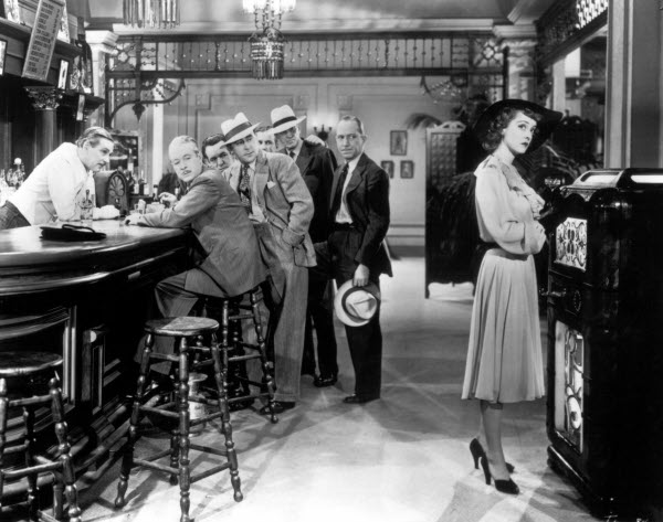Bette Davis as high maintenance mantrap:  Whooping it up all by herself.  Walter Huston tends bar.