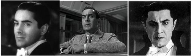 Ravages of Time:  Tyrone Power circa 1937, Power 1957, Bela Lugosi circa 1932 O fearful meditation!  Where, alack,  Shall Time's best jewel from Time's chest lie hid? Or what strong hand can hold his swift foot back, Or who his spoil of beauty can forbid?  (Shakespeare Sonnet 65)