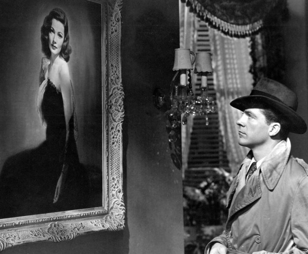 Dana Andrews, portrait of Gene Tierney:  Falling for a corpse -- or so he believes.