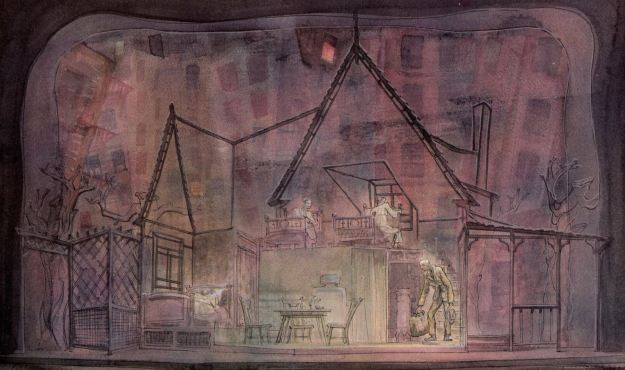 Jo Mieziner's rendering for his set design for 'Death of a Salesman.'