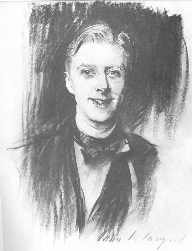 Charcoal sketch of Ernest Thesiger by John Singer Sargent.