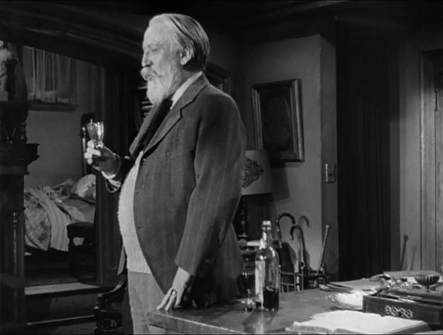 Monty Woolley: The broken-down scholar finds new purpose, a magic bottle of sherry and a warm place to sleep it off.