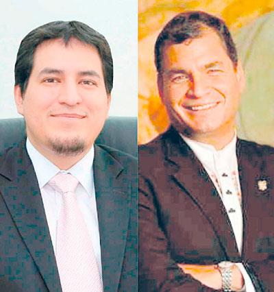 Rafael Correa y Andrés Arauz (a la izquierda), quien con apenas 35 años es licenciado en Economía y Matemáticas por la Universidad de Michigan, Máster en Economía del Desarrollo por Flacso-Ecuador y Doctor en Economía Financiera por la Universidad Nacional Autónoma de México. Durante el último mandato de Correa se desempeñó como ministro de Conocimiento y Talento Humano, y de forma paralela, como titular de Cultura.