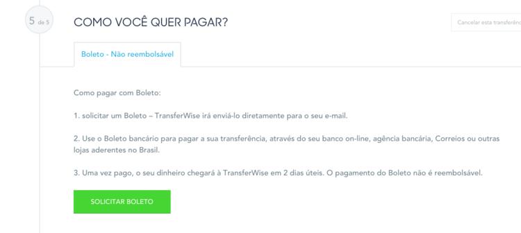 pagamento na TransferWise