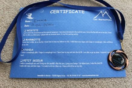Emma's Marmotton Ski Certificate