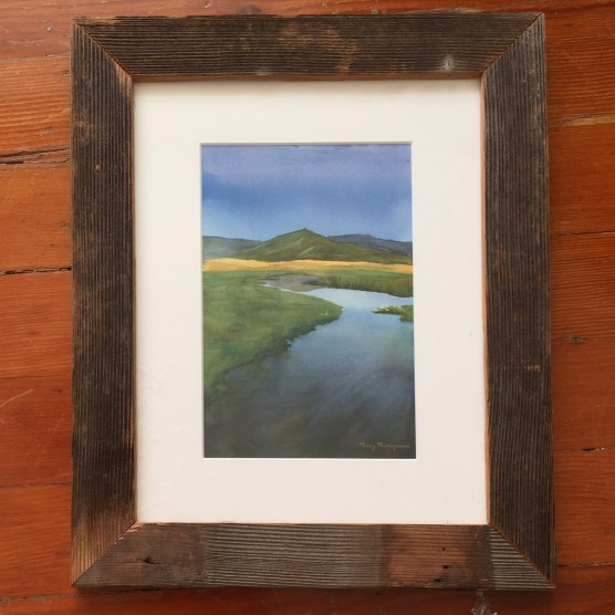 Framed watercolor painting of the Sierra Valley