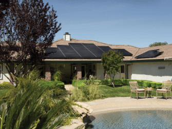 A house with solar panels installed on the roof