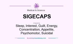 SIGECAPS means - Sleep, Interest, Guilt, Energy, Concentration, Appetite, Psychomotor, Suicidal