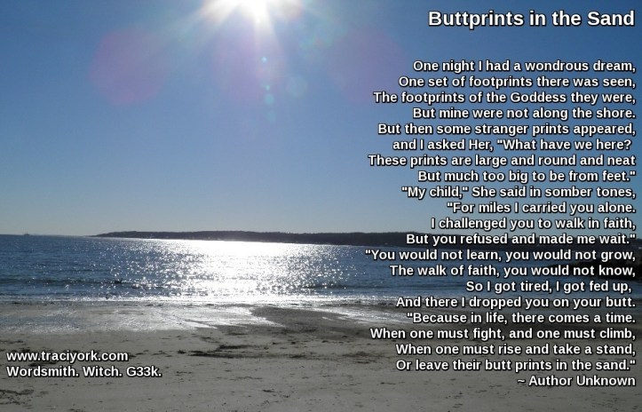 Buttprints in the sand