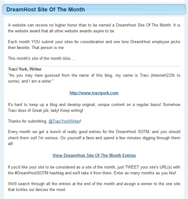 Dreamhost Site of the Month