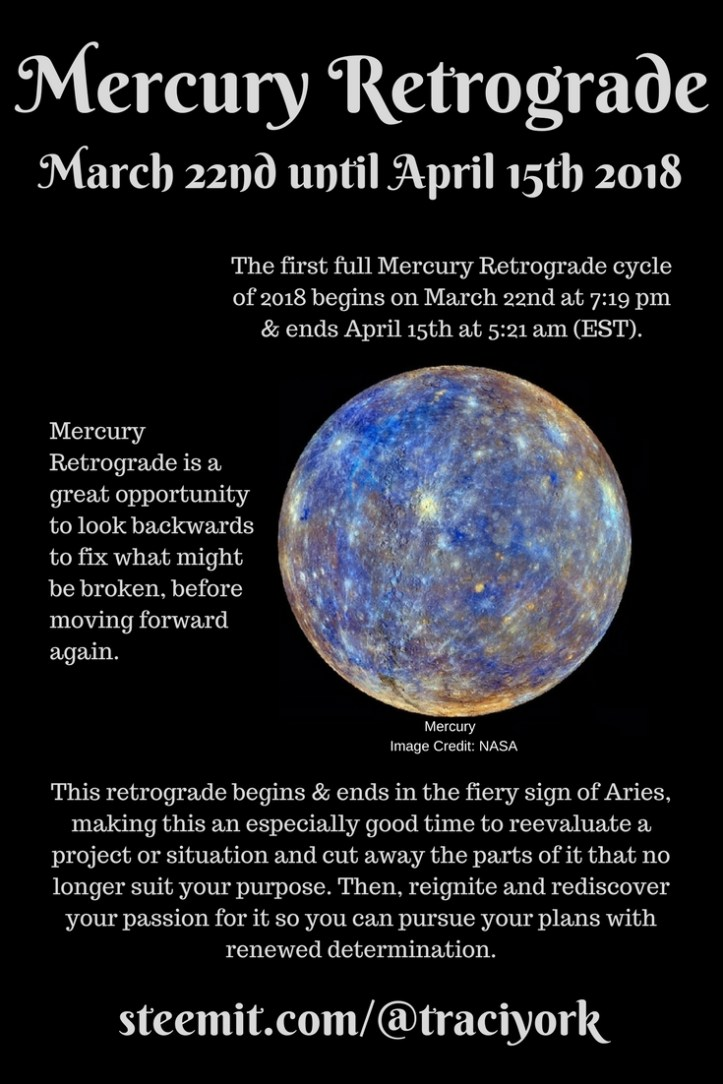 Mercury Retrograde from March 22nd until April 15th 2018