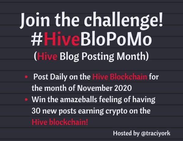 HiveBloPoMo November 2020 announcement blog thumbnail