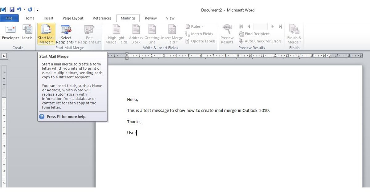 Mail Merge in Word 2010