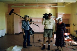 1997, in one of the classrooms at former and derelict Sagehill School. Peter Ford (Location Sound Recordist), Richard Agecoutay (Director of Photography), and Charlotte Ruth Stone (former school principal).