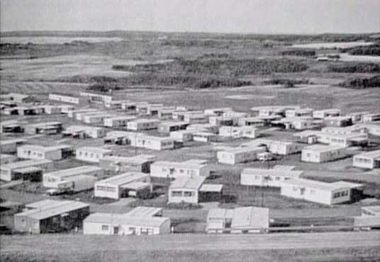 PMQ area, looking down SW from atop tower hill. Sagehill School visible, CFS Dana, Saskatchewan