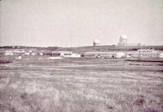 Looking north, wide shot of station with towers, CFS Dana, Saskatchewan