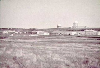 Looking north, wide shot of station with towers, CFS Dana, Saskatchewan