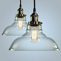 Pendant Light Hanging Glass Ceiling Mounted Chandelier Fixture, SHINE HAI Modern Industrial Edison Vintage Style, Pack of 2