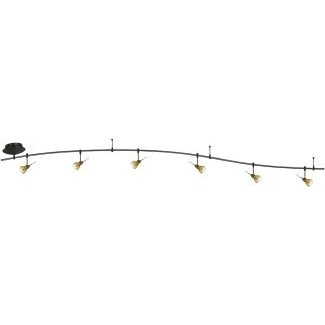 12 foot 300 watt monorail kit with 6 aero heads with round glass shades in amber