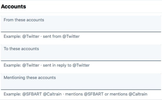Twitter Advanced Search Option- Accounts