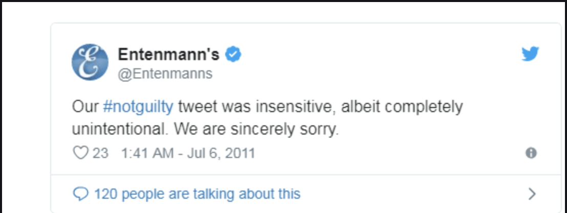 Entenmann's apology