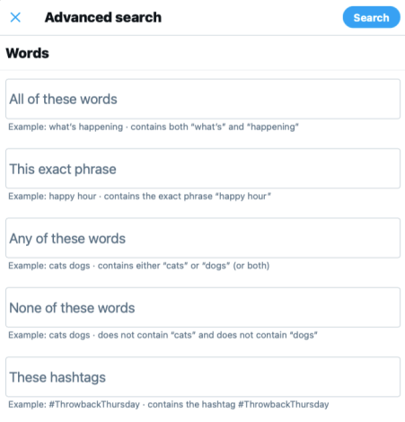 use Twitter advanced search to perform a social media audit