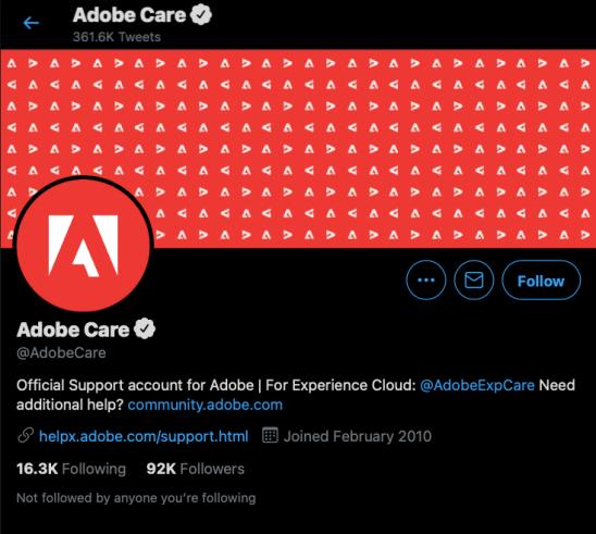 Adobe Twitter customer support account
