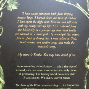 The Name of the Wind back cover