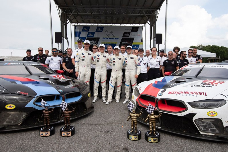 17.08.2018 to 19.08.2018, IMSA WeatherTech Sportscar Championship 2018, Michelin GT Challenge at VIR, Virginia International Raceway, Alton, VA (USA). Alexander Sims (GBR), Connor de Phillippi (USA), No 25, BMW Team RLL, BMW M8 GTE.