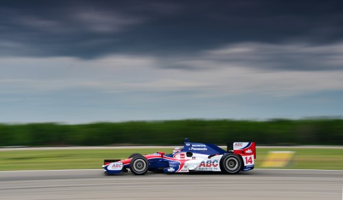 The Honda powered ABC Supply / A.J. Foyt Racing sponsored  No. 14 practices under threatening skies.  (Photo Courtesy of IndyCar - Chris Jones)